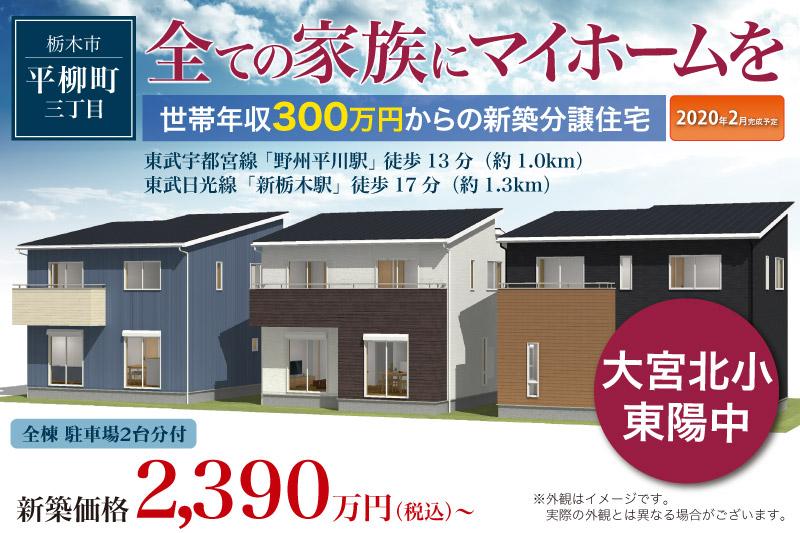栃木市平柳町分譲住宅 2020年2月完成予定